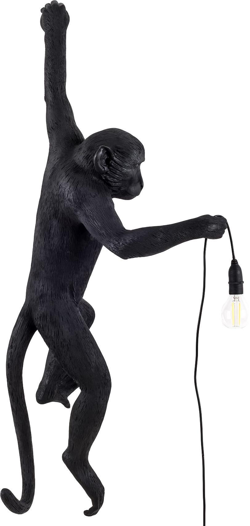 Applique da esterno a LED Monkey, Resina, Nero, Larg. 37 x Alt. 77 cm