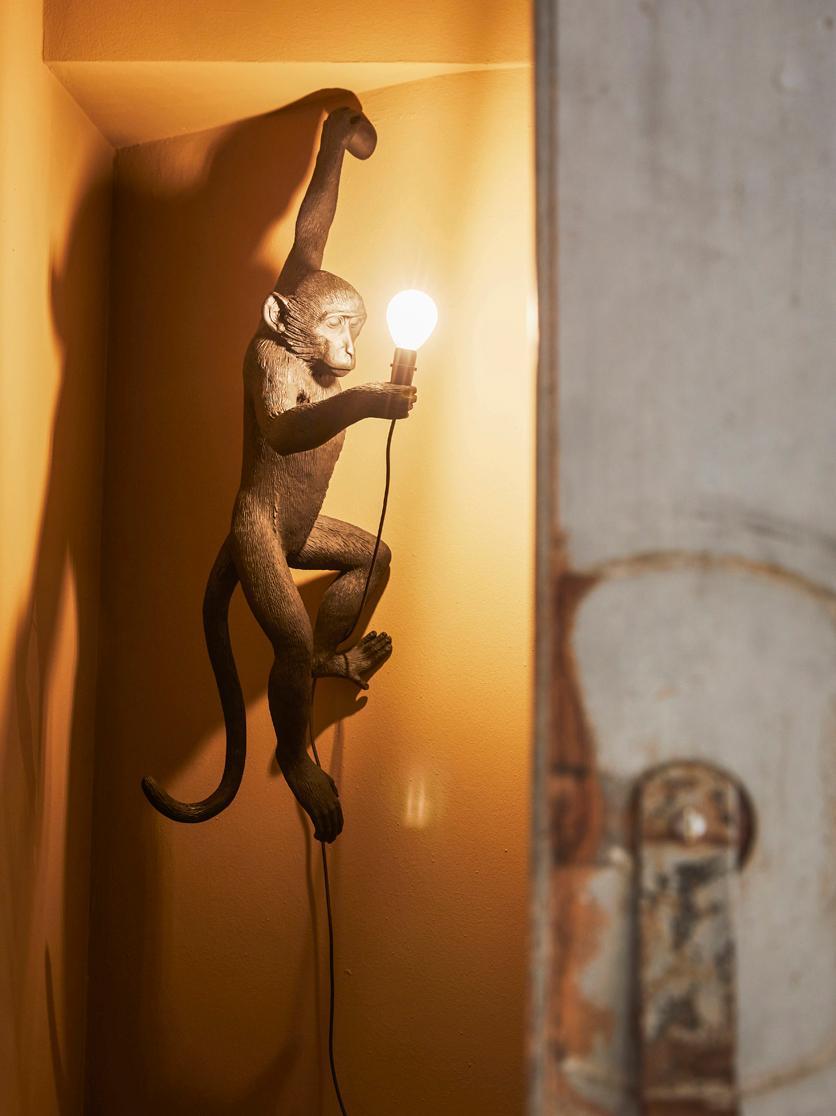 Aussenwandleuchte Monkey, Kunstharz, Schwarz, 37 x 77 cm