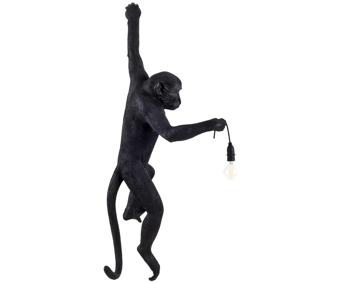 Aplique de exterior Monkey, Resina, Negro, An 37 x Al 77 cm