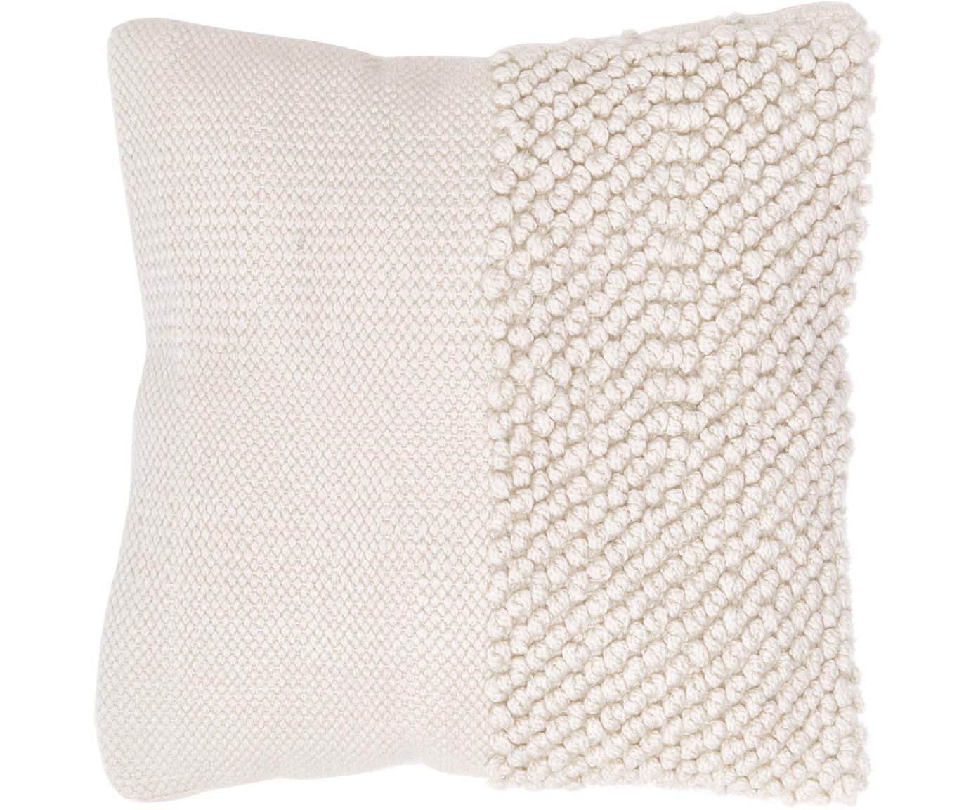 Kissenhülle Andi mit strukturierter Oberfläche, 80% Acryl, 20% Baumwolle, Cremeweiss, 40 x 40 cm