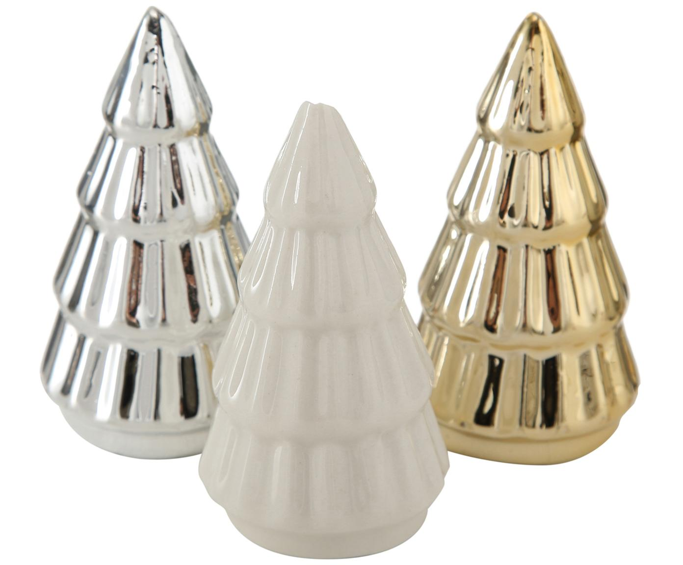 Decoratieve objectenset Glamory, 3-delig, Porselein, Wit, zilverkleurig, goudkleurig, Ø 4 x H 8 cm