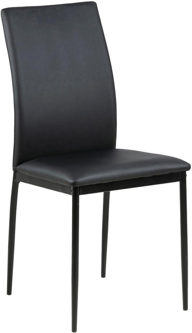 Silla de cuero sintético Demina, Tapizado: poliuretano (cuero), Patas: metal con pintura en polv, Negro, An 44 x F 53 cm