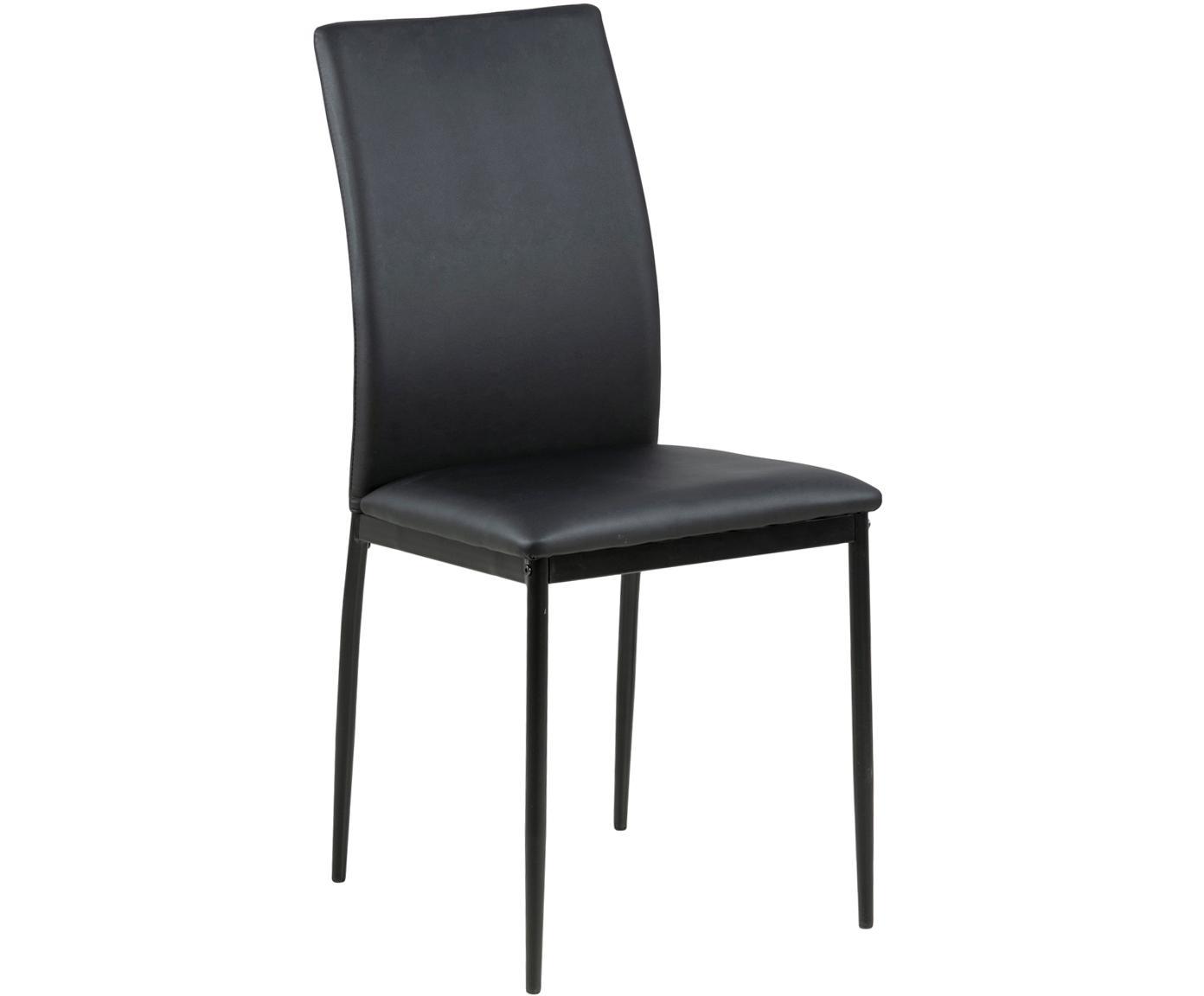 Kunstleren stoel Demina, Bekleding: polyurethaan (PU-leer), Poten: gepoedercoat metaal, Zwart, B 44 x D 53 cm