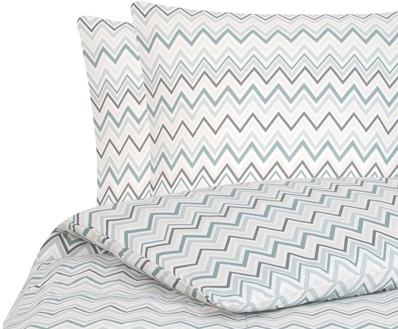 Baumwollsatin-Bettwäsche Maui mit Zickzack-Muster, Webart: Satin Fadendichte 200 TC,, Weiß, Grün, 200 x 200 cm + 2 Kissen 80 x 80 cm