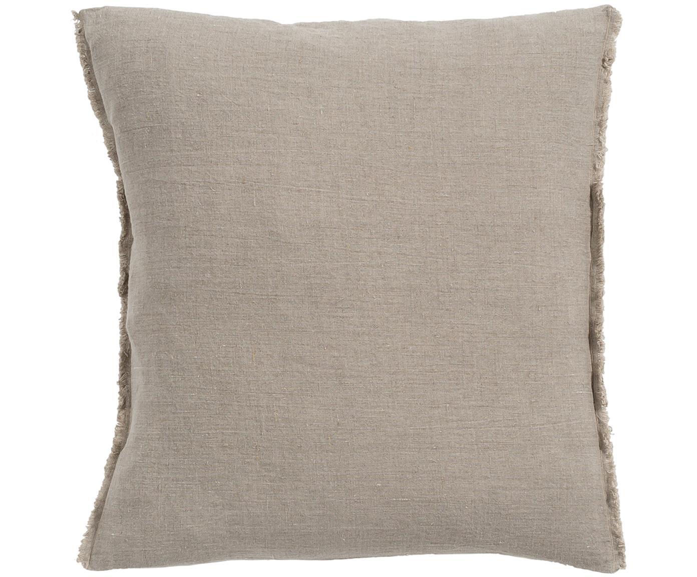 Cojín de lino con flecos Sunshine Fringe, con relleno, Gris pardo, An 50 x L 50 cm