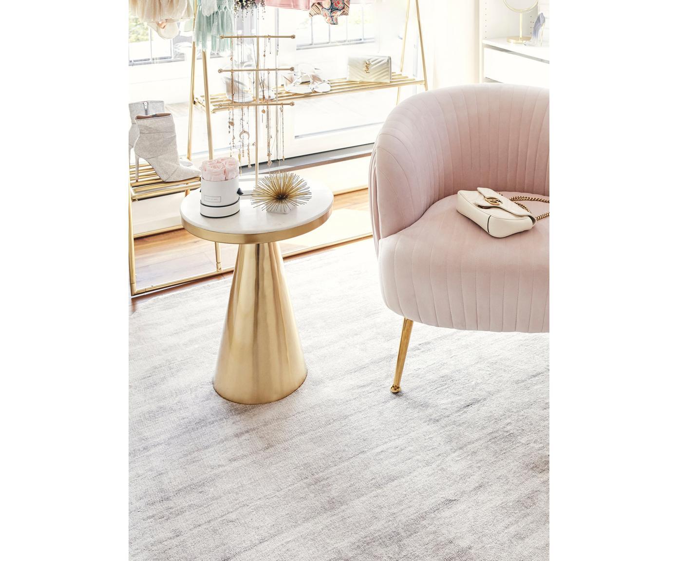 Viscose vloerkleed Jane Diamond, Bovenzijde: 100% viscose, Onderzijde: 100% katoen, Lichtgrijs-beige, 200 x 300 cm