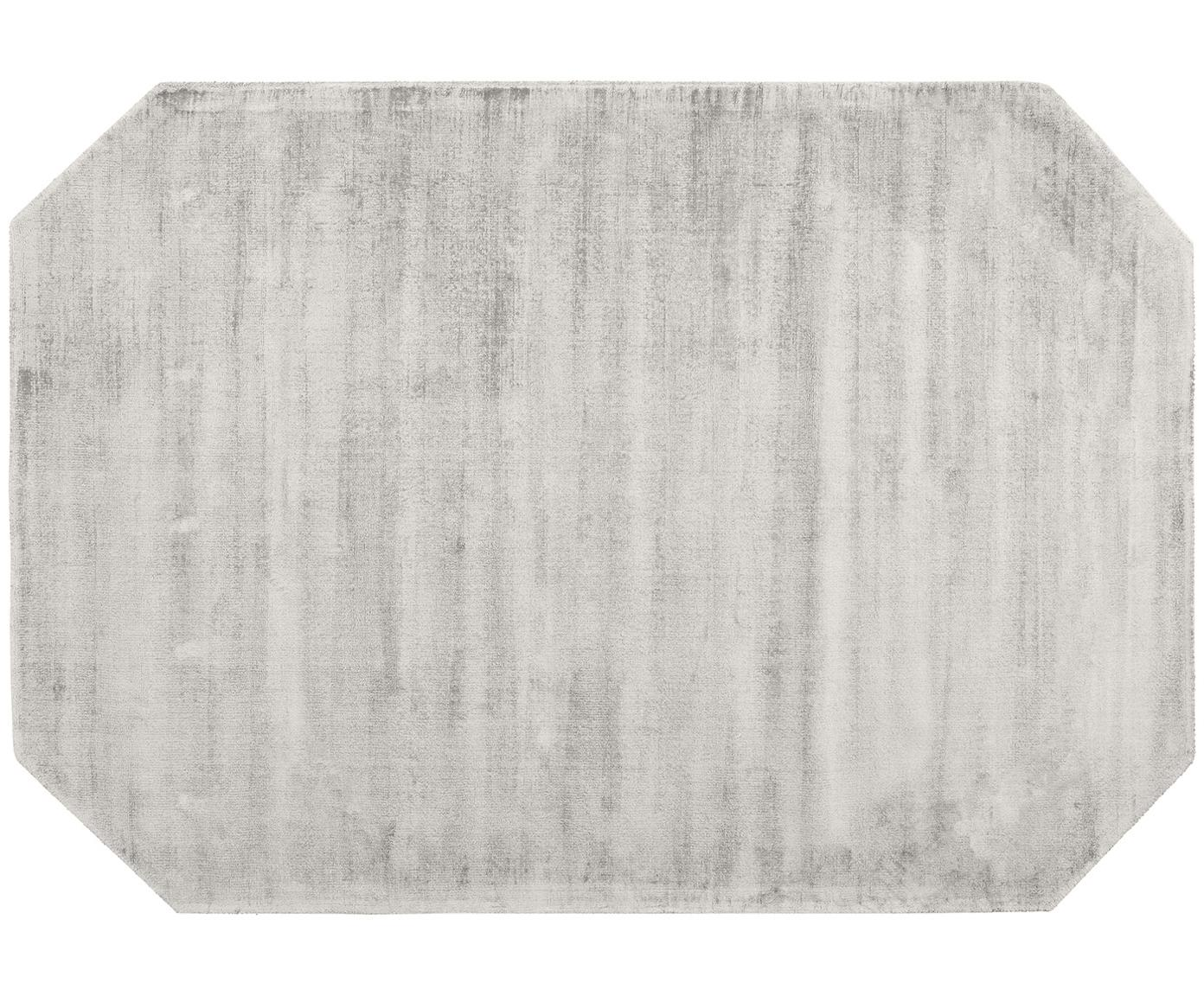 Viscose vloerkleed Jane Diamond, Bovenzijde: 100% viscose, Onderzijde: 100% katoen, Lichtgrijs-beige, 120 x 180 cm