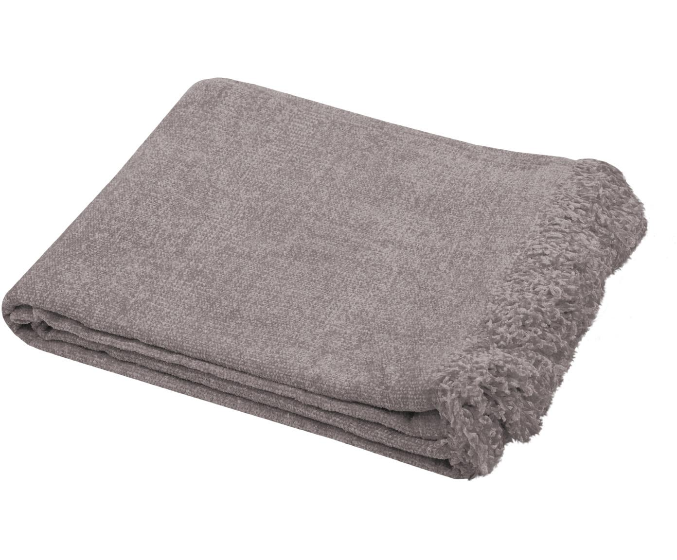 Zachte chenille plaid Chila met franjes, 100% polyester, Taupe, 125 x 150 cm