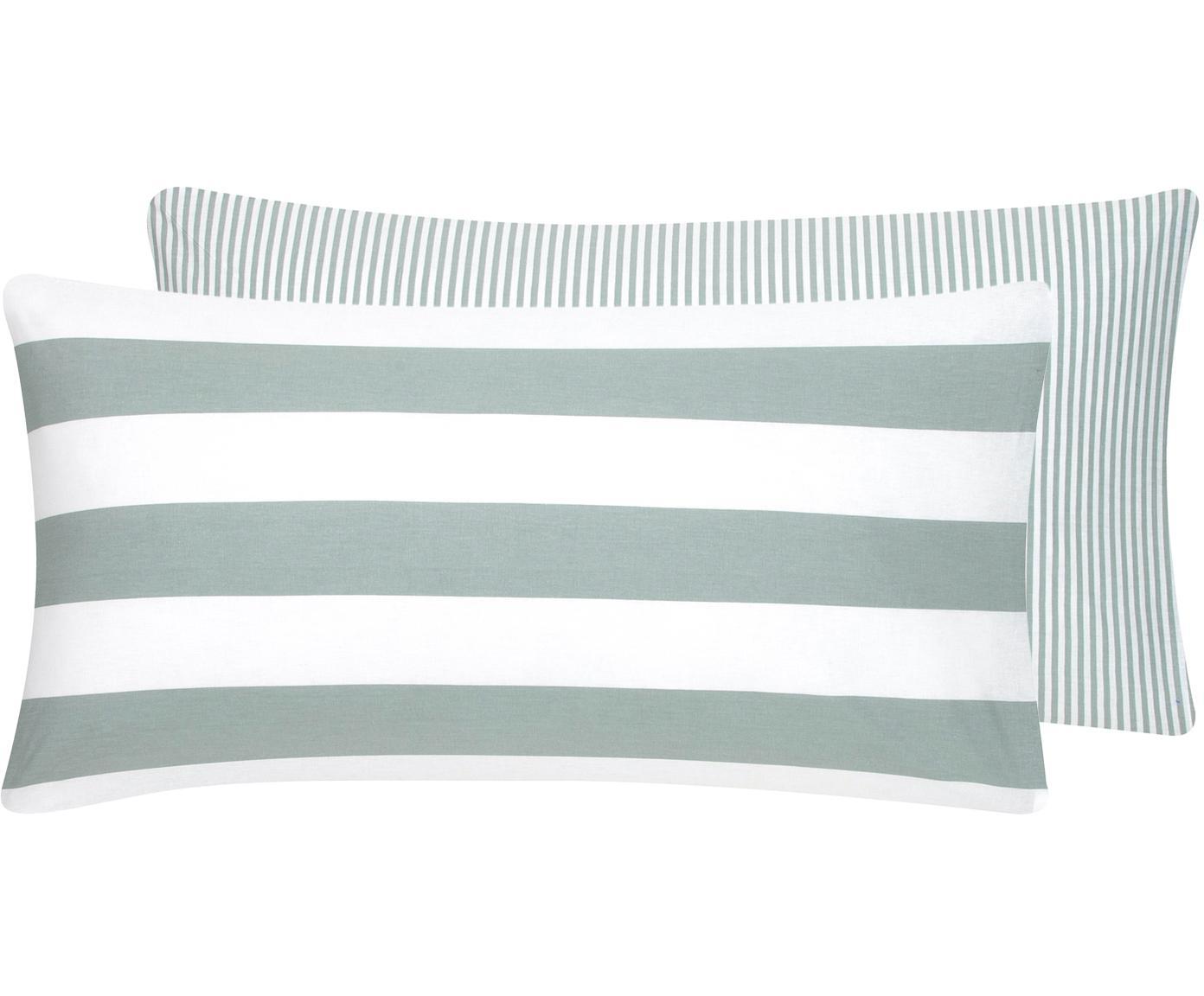 Funda de almohada de tejido renforcé Lorena, caras distintas, Verde salvia, blanco, An 45 x L 85 cm