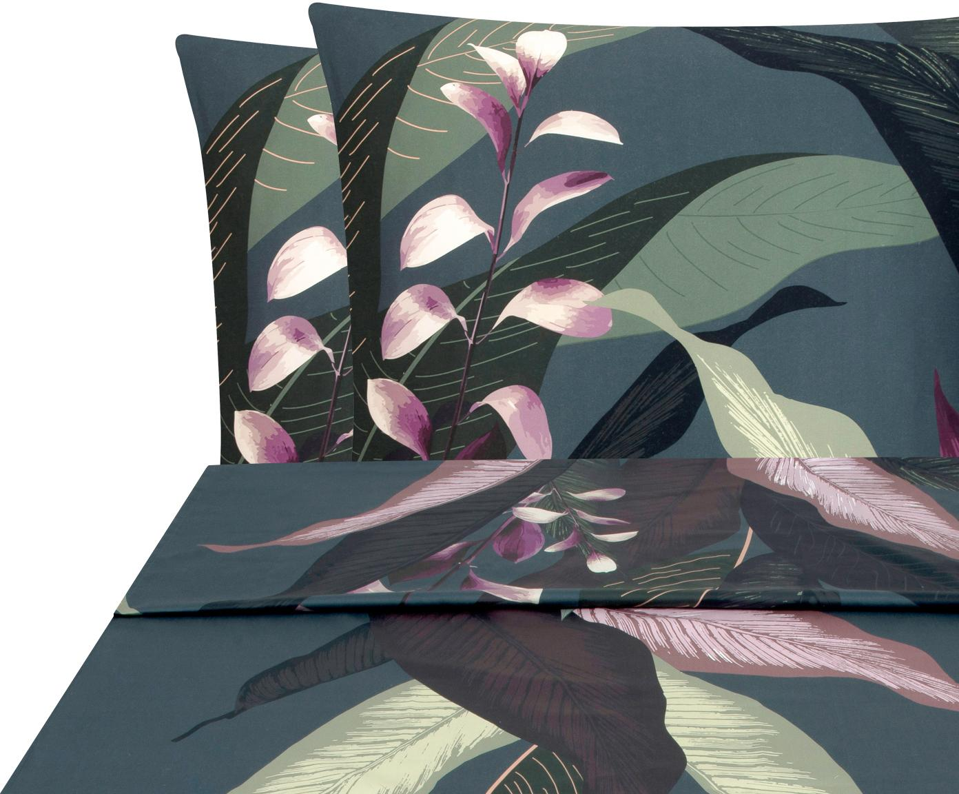 Set lenzuola in raso di cotone Flora 2 pz, Tessuto: raso Densità del filo 210, Fronte: multicolore, 240 x 300 cm