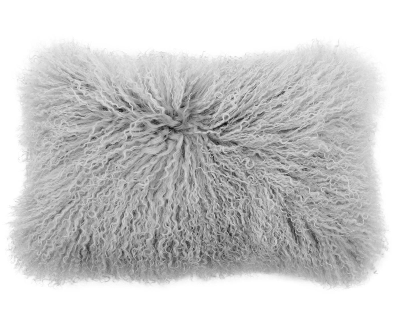 Langhaar-Lammfell Kissenhülle Ella, gelockt, Vorderseite: 100% mongolisches Lammfel, Rückseite: 100% Polyester, Hellgrau, 30 x 50 cm