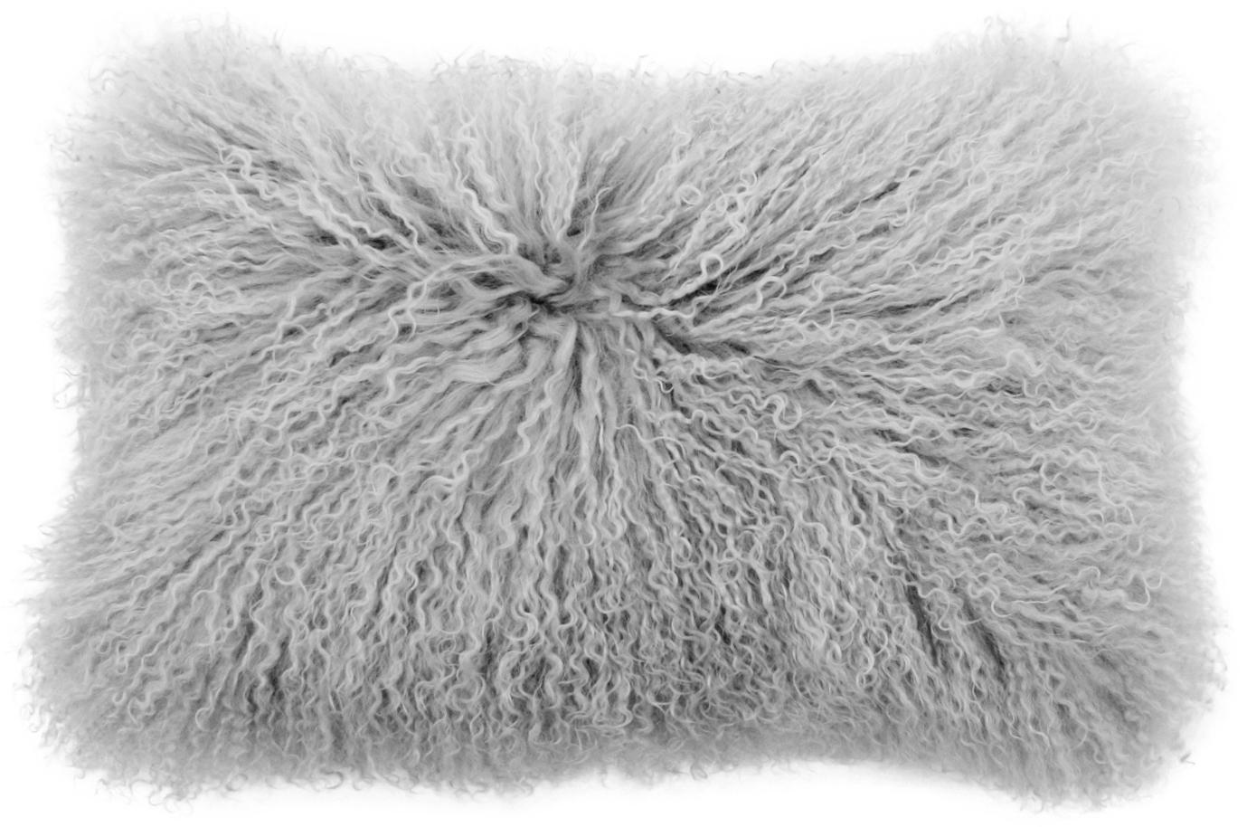 Funda de cojín en piel de cordero Ella, Parte delantera: piel de cordero de Mongol, Parte trasera: 100%poliéster, Gris claro, An 30 x L 50 cm