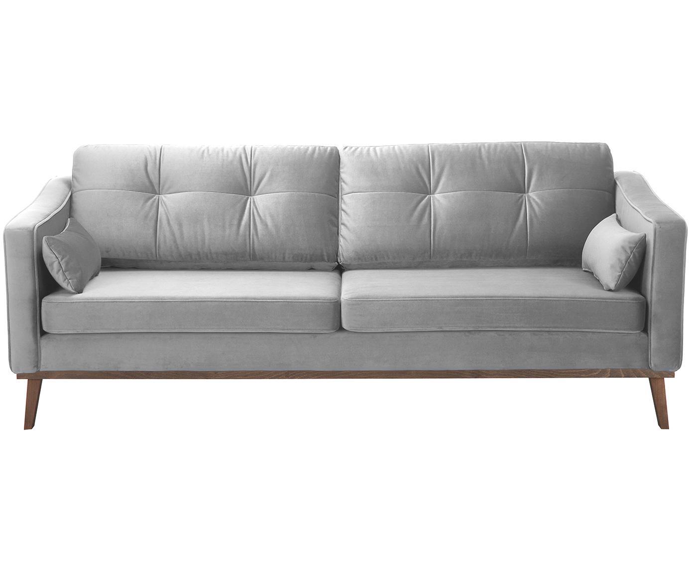 Sofa z aksamitu Alva (3-osobowa), Tapicerka: aksamit (wysokiej jakości, Stelaż: drewno sosnowe, Nogi: lite drewno bukowe, barwi, Szary, S 215 x G 92 cm