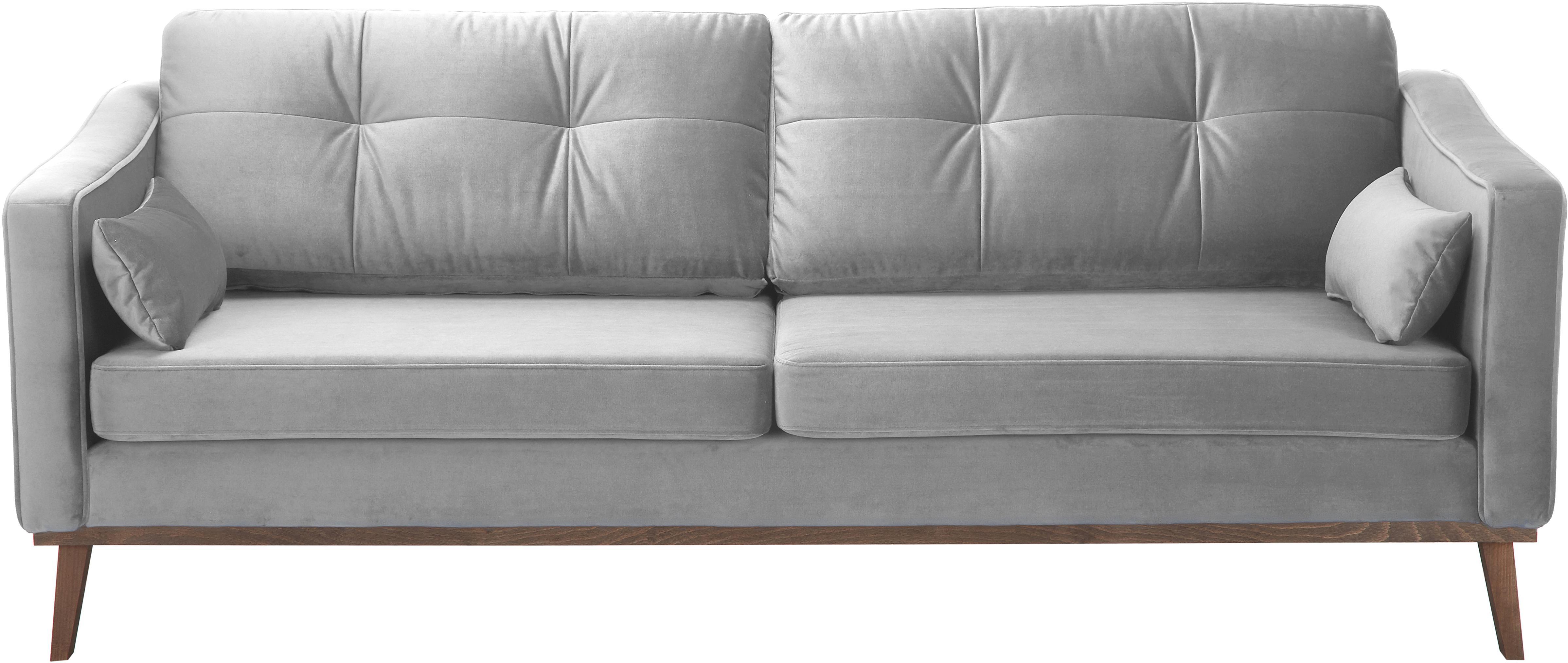 Fluwelen bank Alva (3-zits), Bekleding: fluweel (hoogwaardig poly, Frame: massief grenenhout, Poten: massief gebeitst beukenho, Grijs, B 215 x D 92 cm