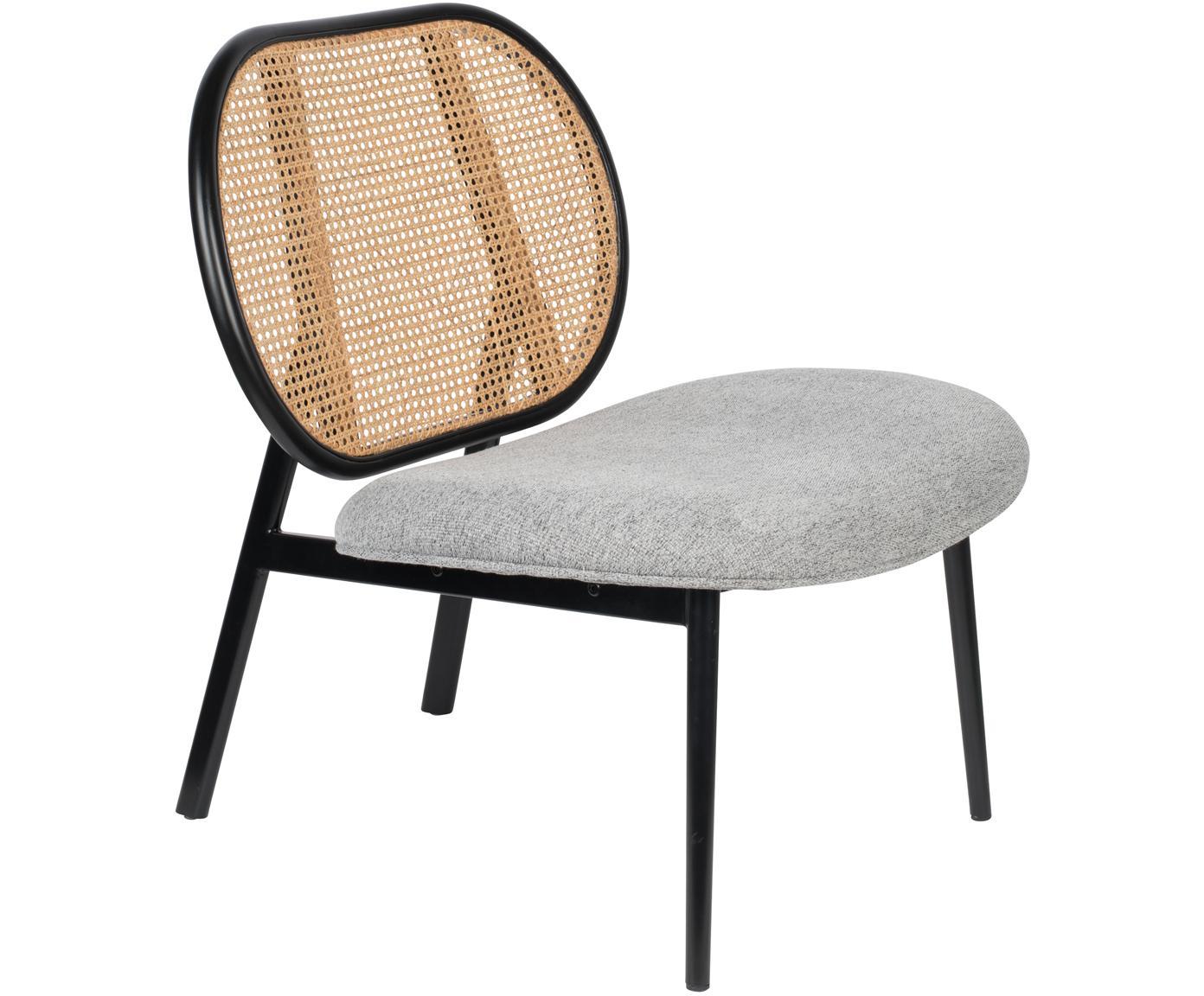 Loungefauteuil Spike, Bekleding: polyester, Frame: rotan, beukenhout, Poten: gepoedercoat metaal, Beige, grijs, B 79 x D 70 cm
