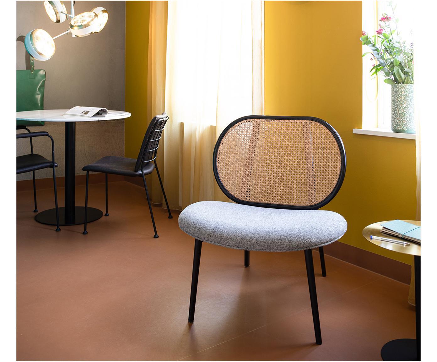 Sedia a poltrona Spike, Rivestimento: poliestere 100.000 cicli , Gambe: metallo verniciato a polv, Beige, grigio, Larg. 79 x Prof. 70 cm