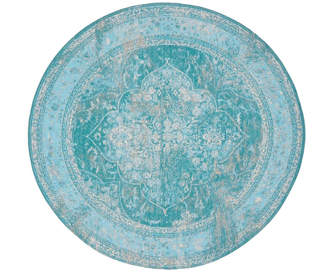 Vintage Chenille vloerkleed Palermo in turquoise, Bovenzijde: 95% katoen, 5% polyester, Onderzijde: 100% katoen, Turquoise, lichtblauw, crèmekleurig, Ø 150 cm