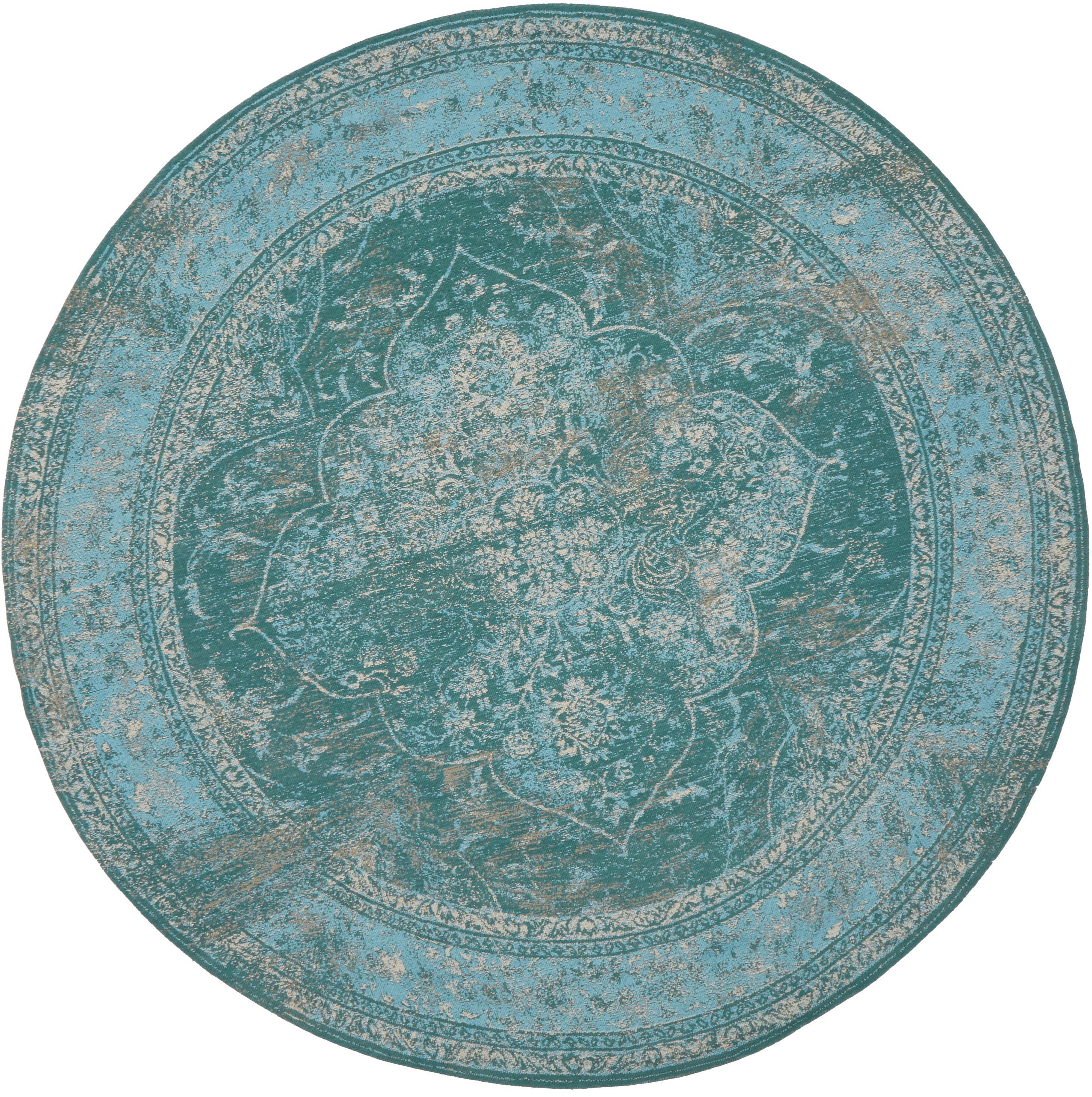 Federa arredo rotonda in ciniglia Lodge, Retro: 100% cotone, Turchese, azzurro, crema, Ø 150 cm (taglia M)