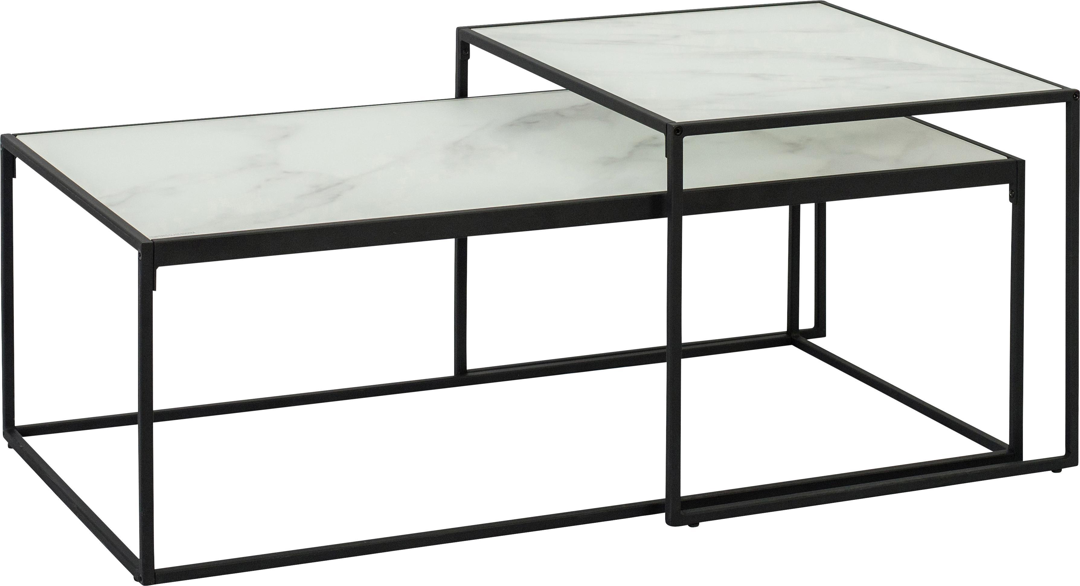 Set de mesas de centro Bolton, 2pzas., tablero de cristal, Tablero: vidrio, laminado, Estructura: metal con pintura en polv, Blanco, Set de diferentes tamaños