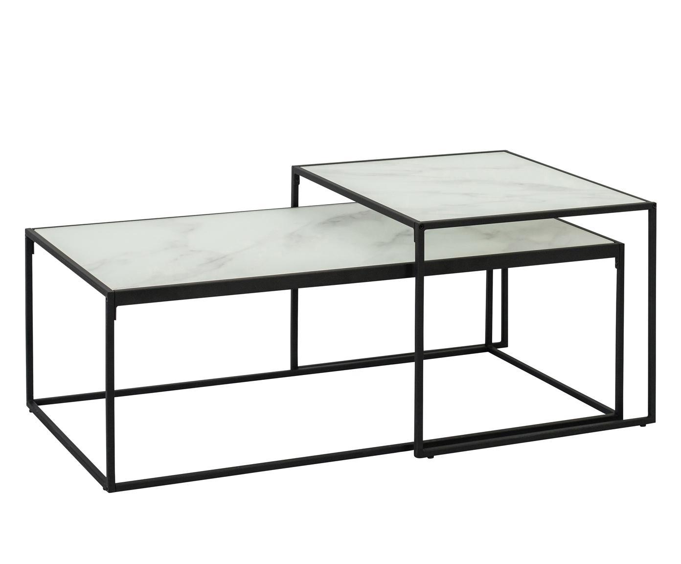 Bijzettafelset Bolton met glazen tafelbladen, Frame: gepoedercoat metaal, Wit, Verschillende formaten