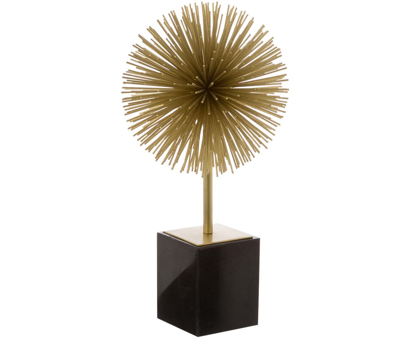 Figura decorativa Marball, Figura: metal, Parte inferior: fieltro, Figura: dorado Base: mármol negro, Al 30 cm