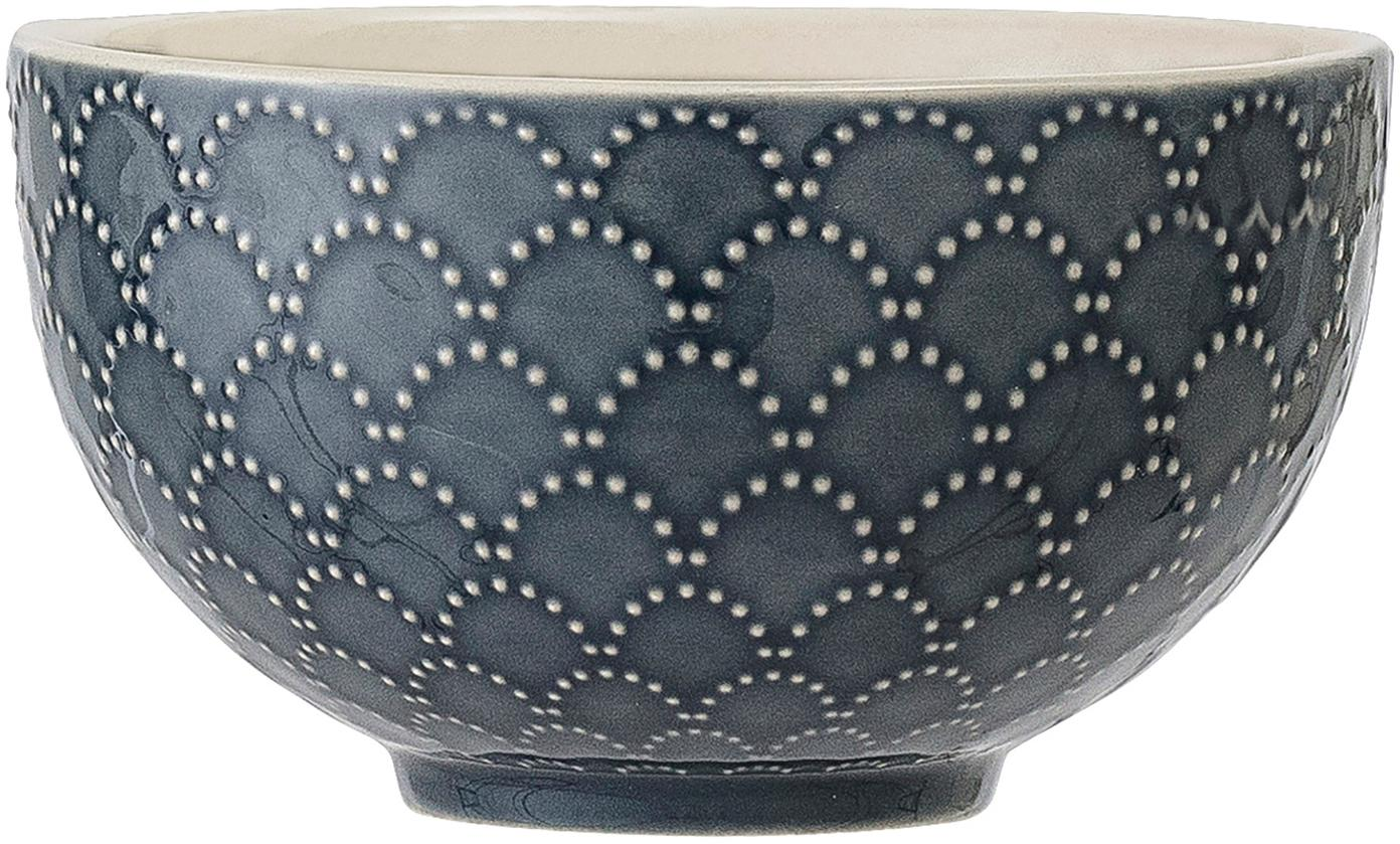 Cuencos Naomie, 4uds., Gres, Azul, blanco, Ø 12 x Al 7 cm