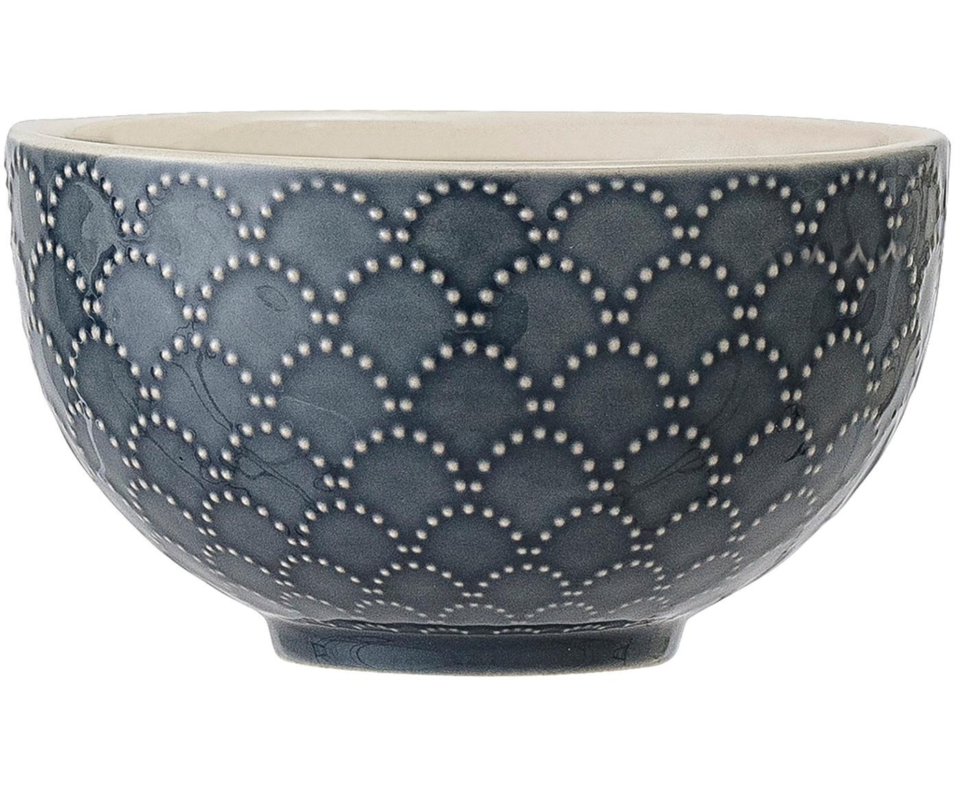 Gemusterte Schälchen Naomi in Dunkelblau, 4 Stück, Steingut, Blau, Weiß, Ø 12 x H 7 cm