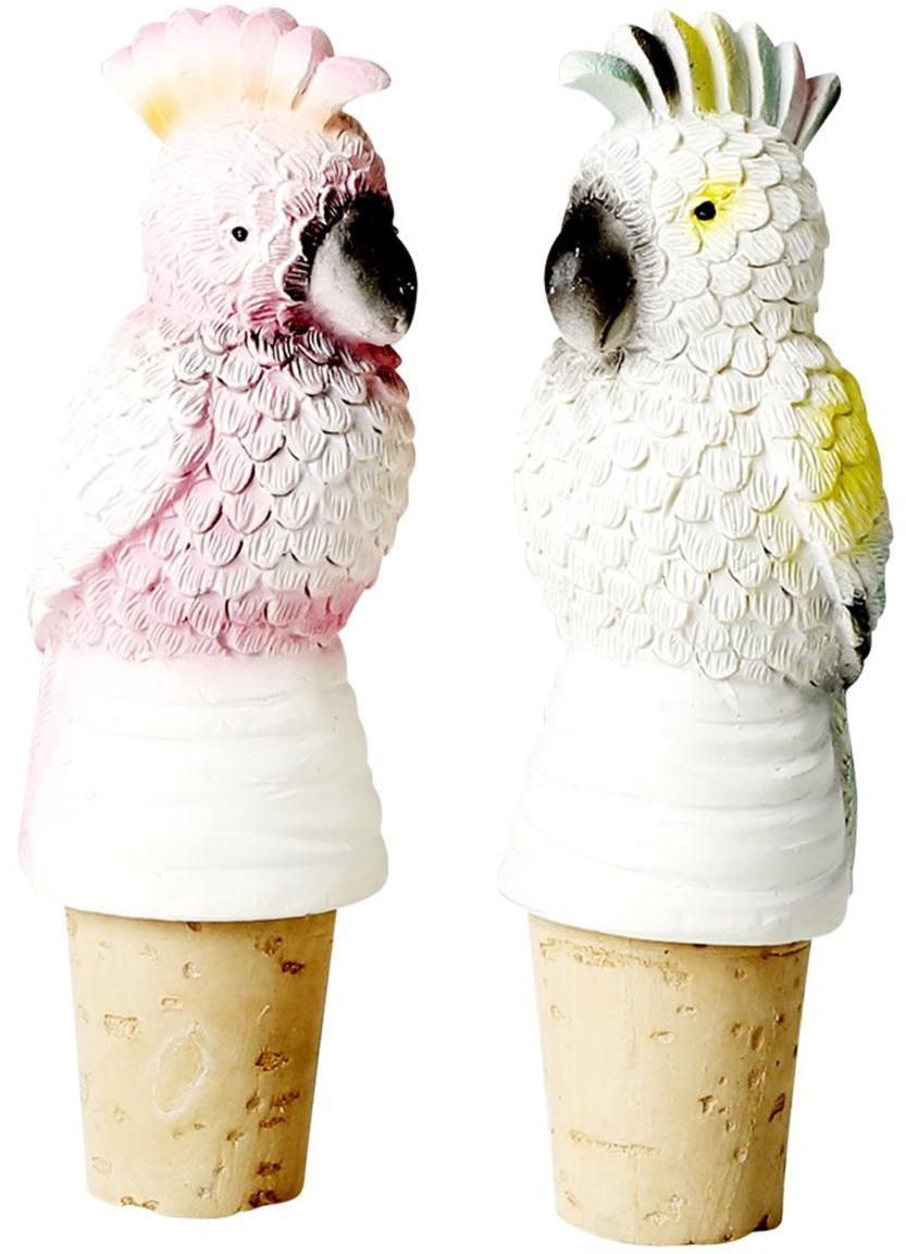 Komplet stoperów do butelek Cockatoo, 2 elem., Żywica, drewno dębowe, korek, Blady różowy, biały, żółty, Ø 3 x W 9 cm