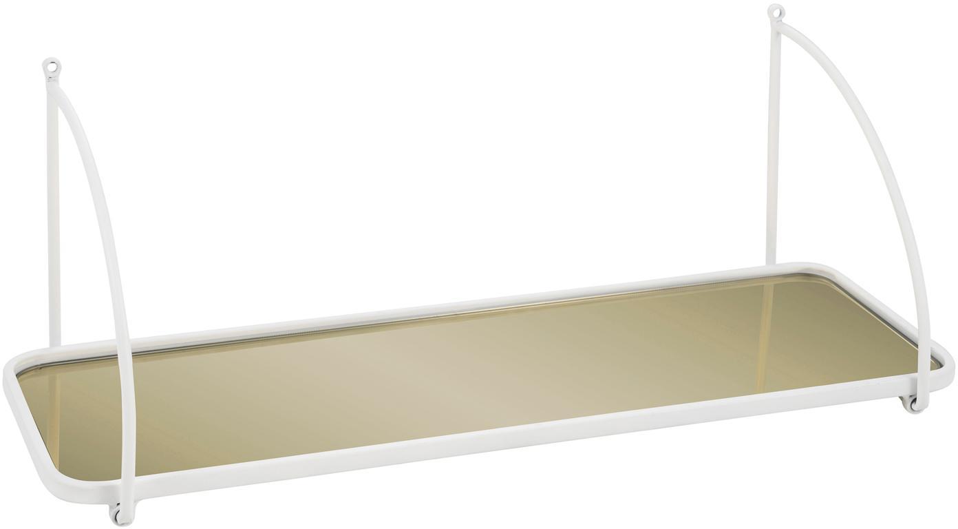 Wandregal Malene, Gestell: Metall, beschichtet, Regalboden: Spiegelglas, Weiß, Messingfarben, 50 x 19 cm