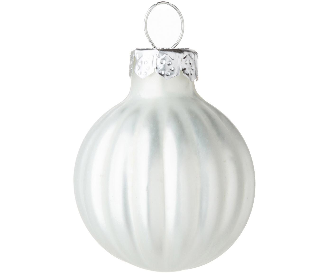 Kerstballen Rib, 12 stuks, Glas, Winterwit, Ø 3 cm