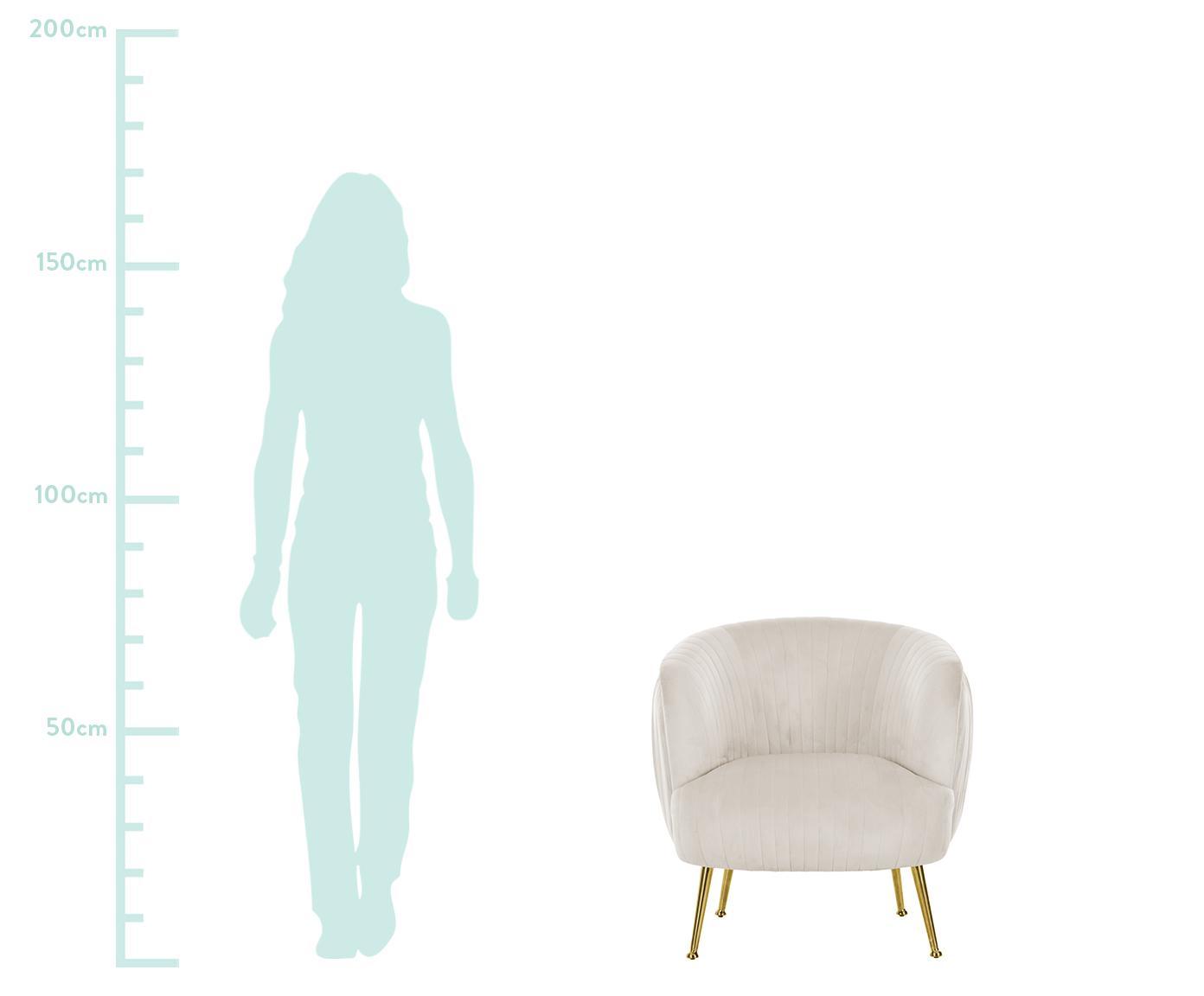 Samt-Cocktailsessel Cara, Bezug: Samt (Polyester) Der hoch, Gestell: Massives Birkenholz, Span, Füße: Metall, beschichtet, Samt Beige, B 81 x T 78 cm
