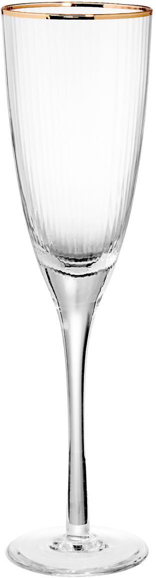 Copas flauta de champán Golden Twenties, 4uds., Vidrio, Transparente, Ø 7 x Al 26 cm