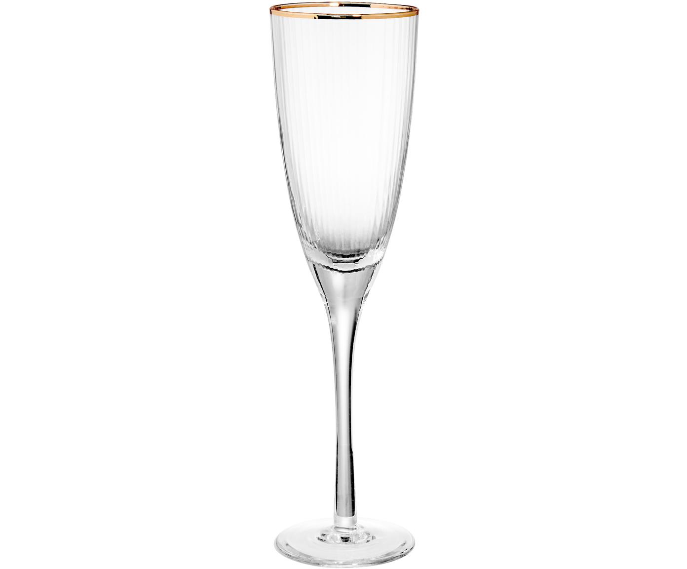 Champagnergläser Golden Twenties mit Goldrand, 4er-Set, Glas, Transparent, Ø 7 x H 26 cm