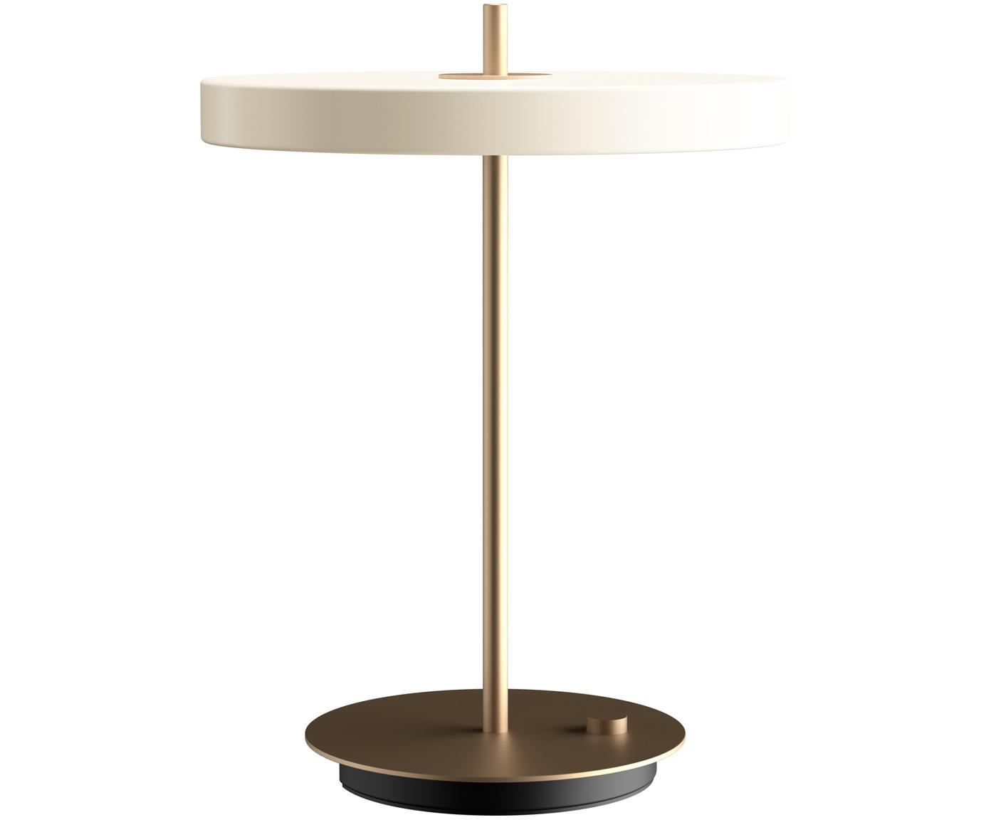 Dimbare LED tafellamp Asteria, Lampenkap: gelakt aluminium, Lampvoet: gelakt staal, Crèmewit, goudkleurig, Ø 31 x H 42 cm
