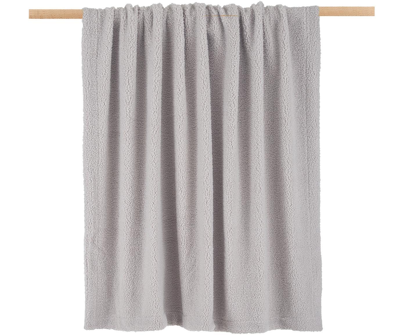 Teddy plaid Mille, Bovenzijde: 100% polyester (teddyvach, Onderzijde: 100% polyester, Lichtgrijs, 150 x 200 cm