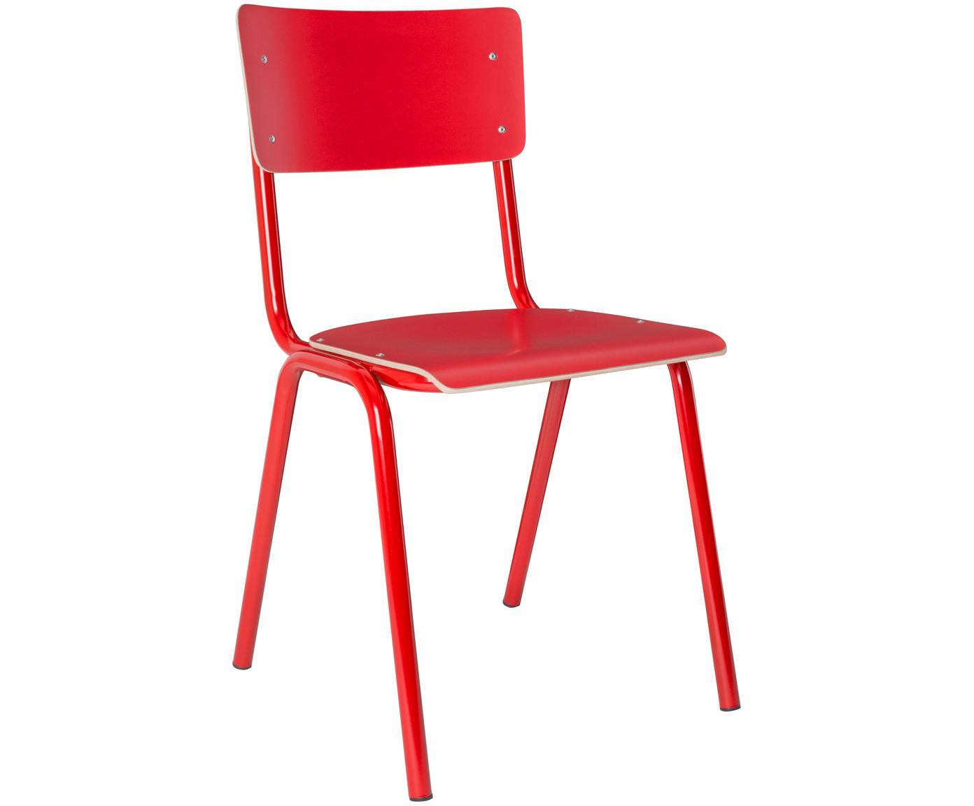 Sedia da pranzo Back to School, Gambe: metallo verniciato a polv, Rosso, Larg. 43 x Prof. 49 cm