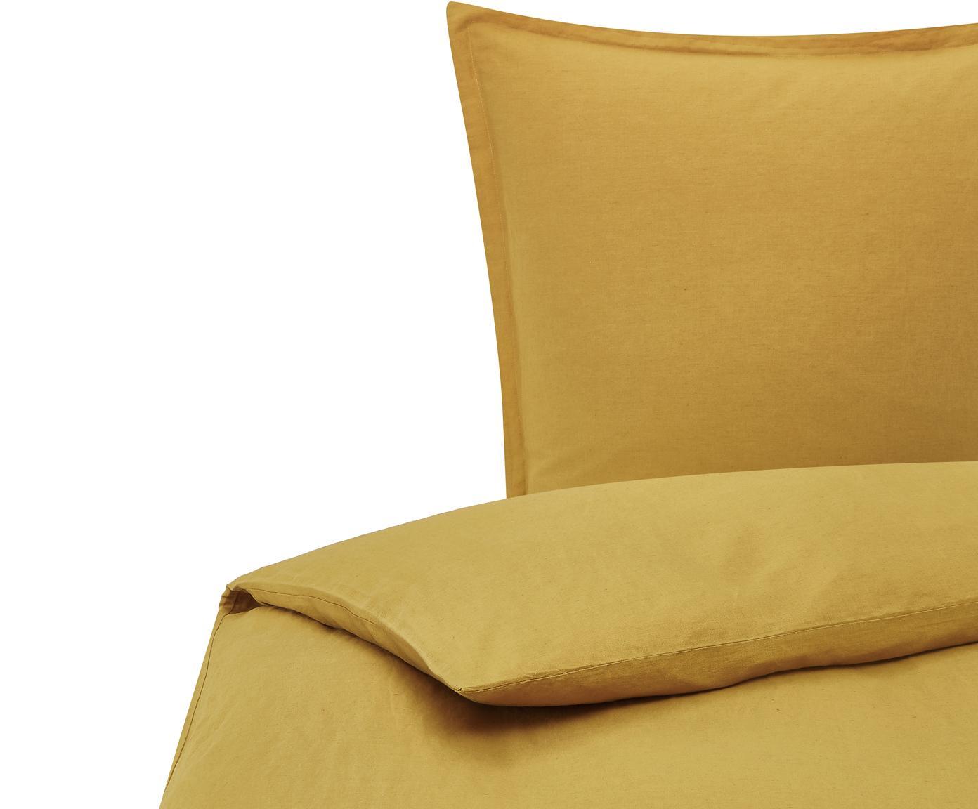 Gewaschene Leinen-Bettwäsche Nature in Senfgelb, Halbleinen (52% Leinen, 48% Baumwolle)  Fadendichte 108 TC, Standard Qualität  Halbleinen hat von Natur aus einen kernigen Griff und einen natürlichen Knitterlook, der durch den Stonewash-Effekt verstärkt wird. Es absorbiert bis zu 35% Luftfeuchtigkeit, trocknet sehr schnell und wirkt in Sommernächten angenehm kühlend. Die hohe Reißfestigkeit macht Halbleinen scheuerfest und strapazierfähig., Senfgelb, 155 x 220 cm + 1 Kissen 80 x 80 cm