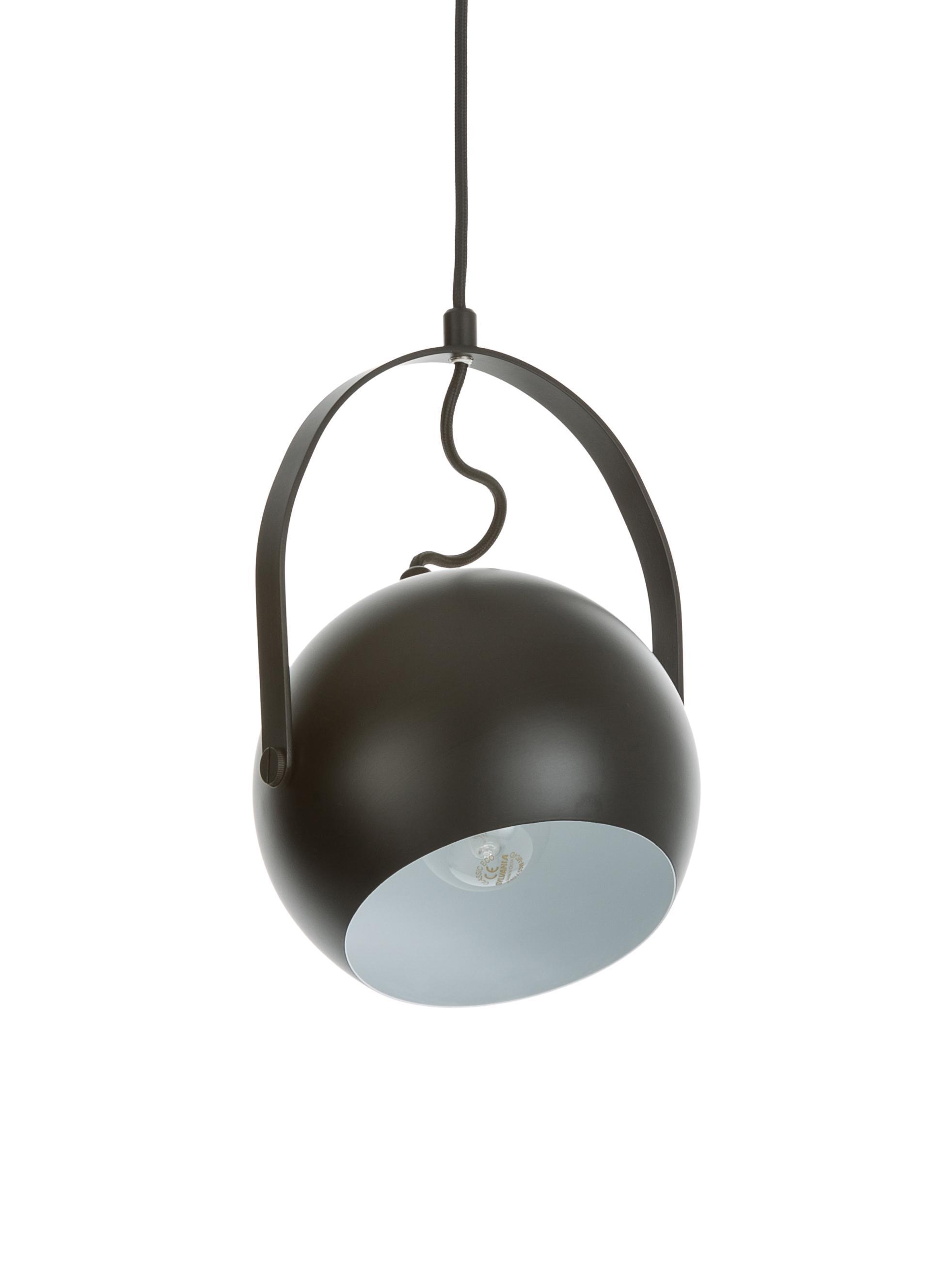 Kleine Kugel-Pendelleuchte Ball, Metall, lackiert, Schwarz, matt, Ø 18 x H 18 cm