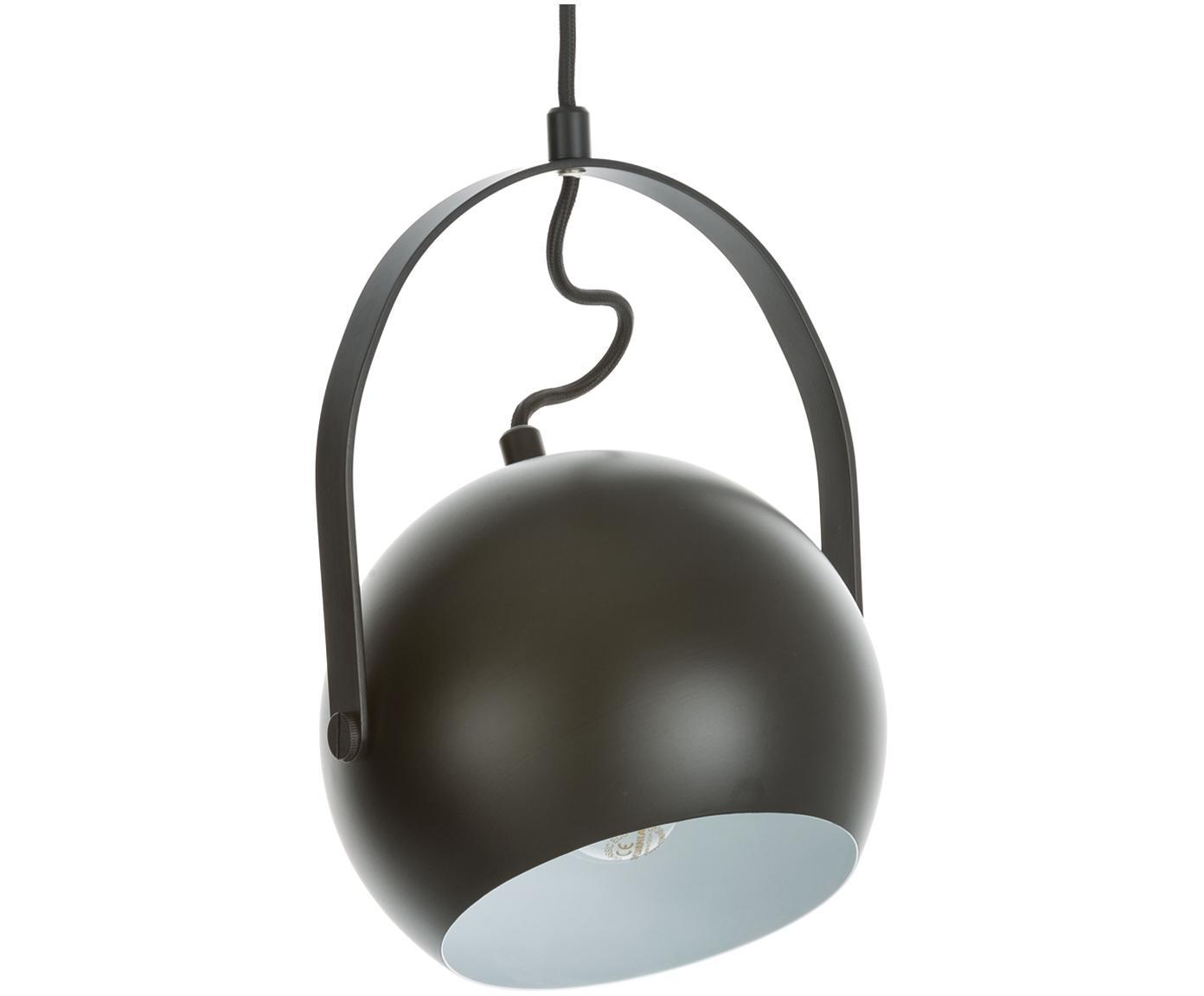 Bolvormige hanglamp Ball, Gelakt metaal, Mat zwart, Ø 18 x H 18 cm