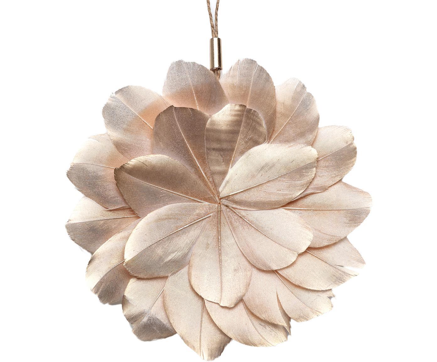 Adornos navideños Juju, 2uds., Flor: plumas teñidas, Ojal: metal, Dorado, marrón, Ø 12 x Fondo 1 cm