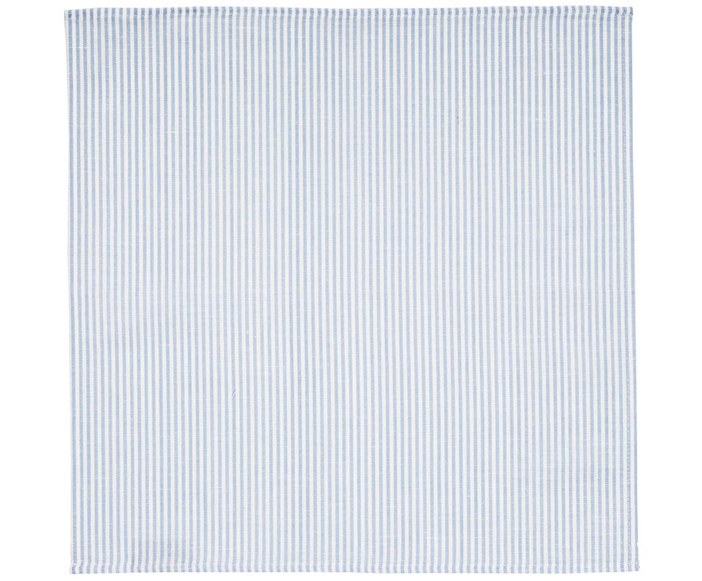 Stoff-Servietten Streifen aus Halbleinen, 6 Stück, Weiß, Hellblau, 45 x 45 cm