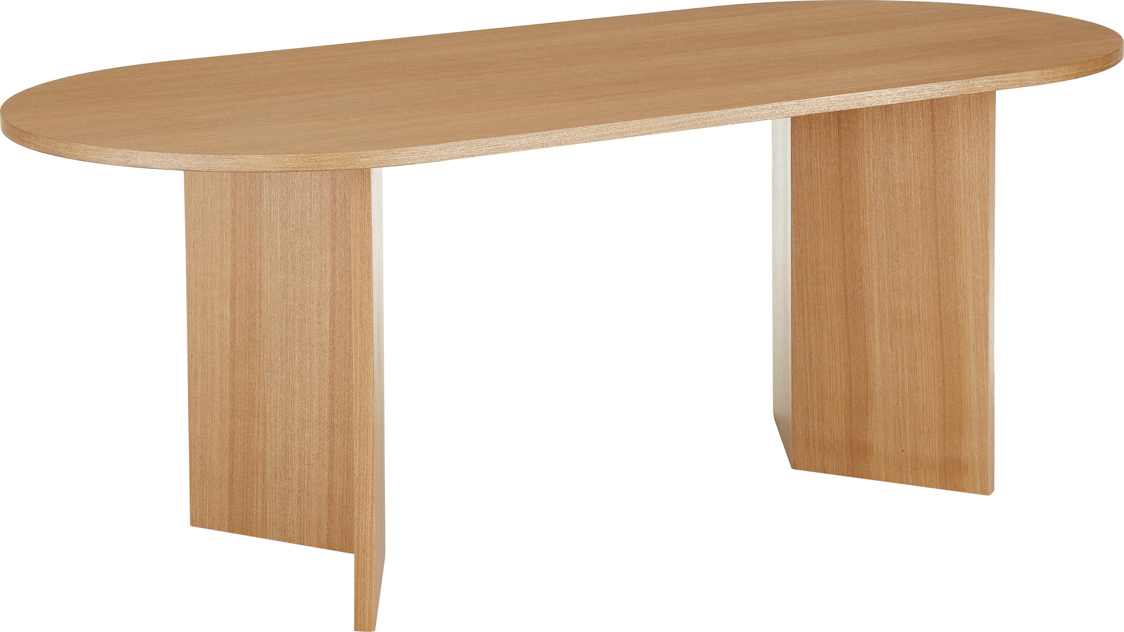 Ovaler Esstisch Toni aus Holz, Mitteldichte Holzfaserplatte (MDF) mit Eschenholzfurnier, lackiert, Eschenholzfurnier, B 200 x T 90 cm