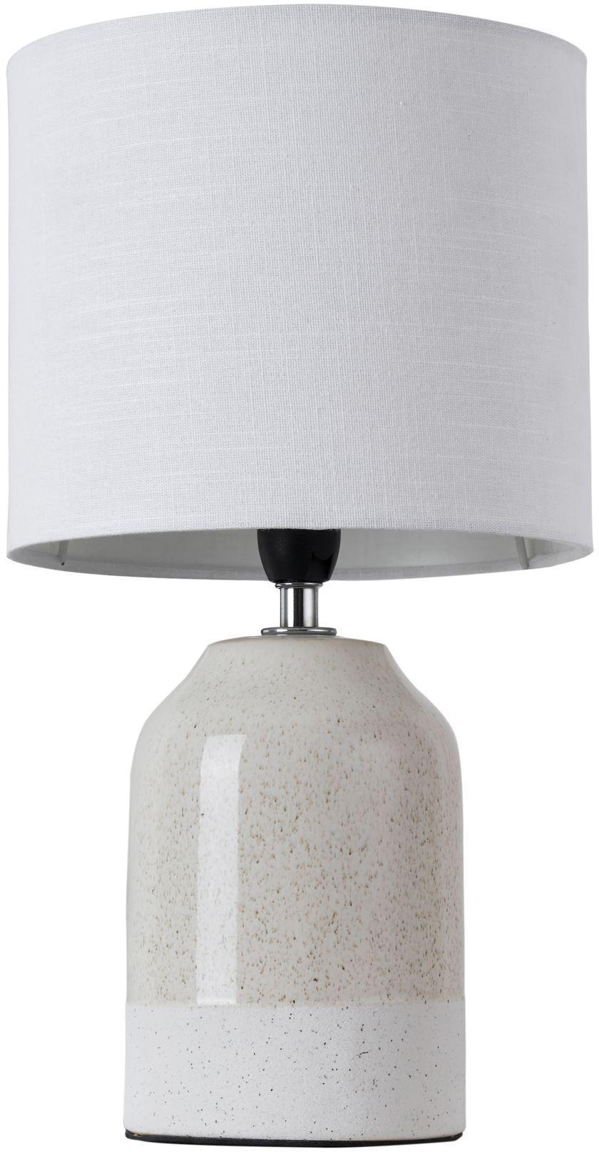 Tischlampe Luka aus Keramik, Lampenschirm: Leinen, Lampenfuß: Keramik, Beige, Weiß, Ø 18 x H 33 cm