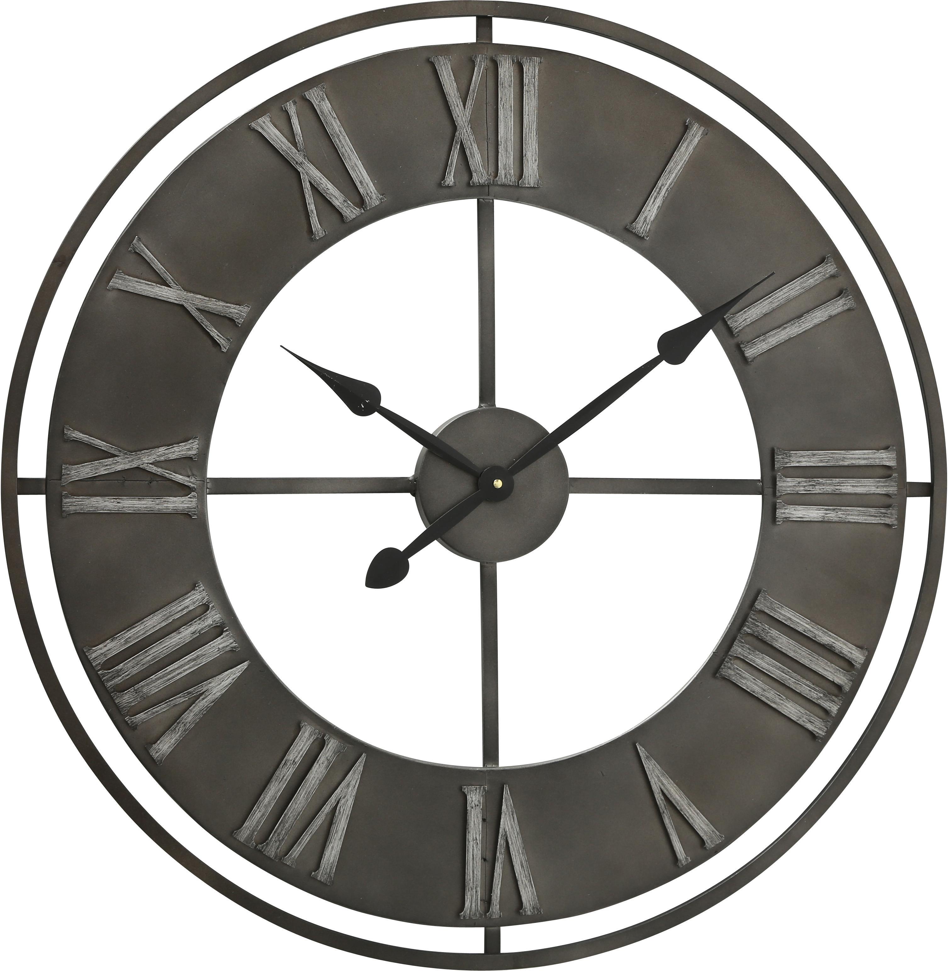 Orologio da parete Duro, Metallo rivestito, Grigio scuro, Ø 78 cm