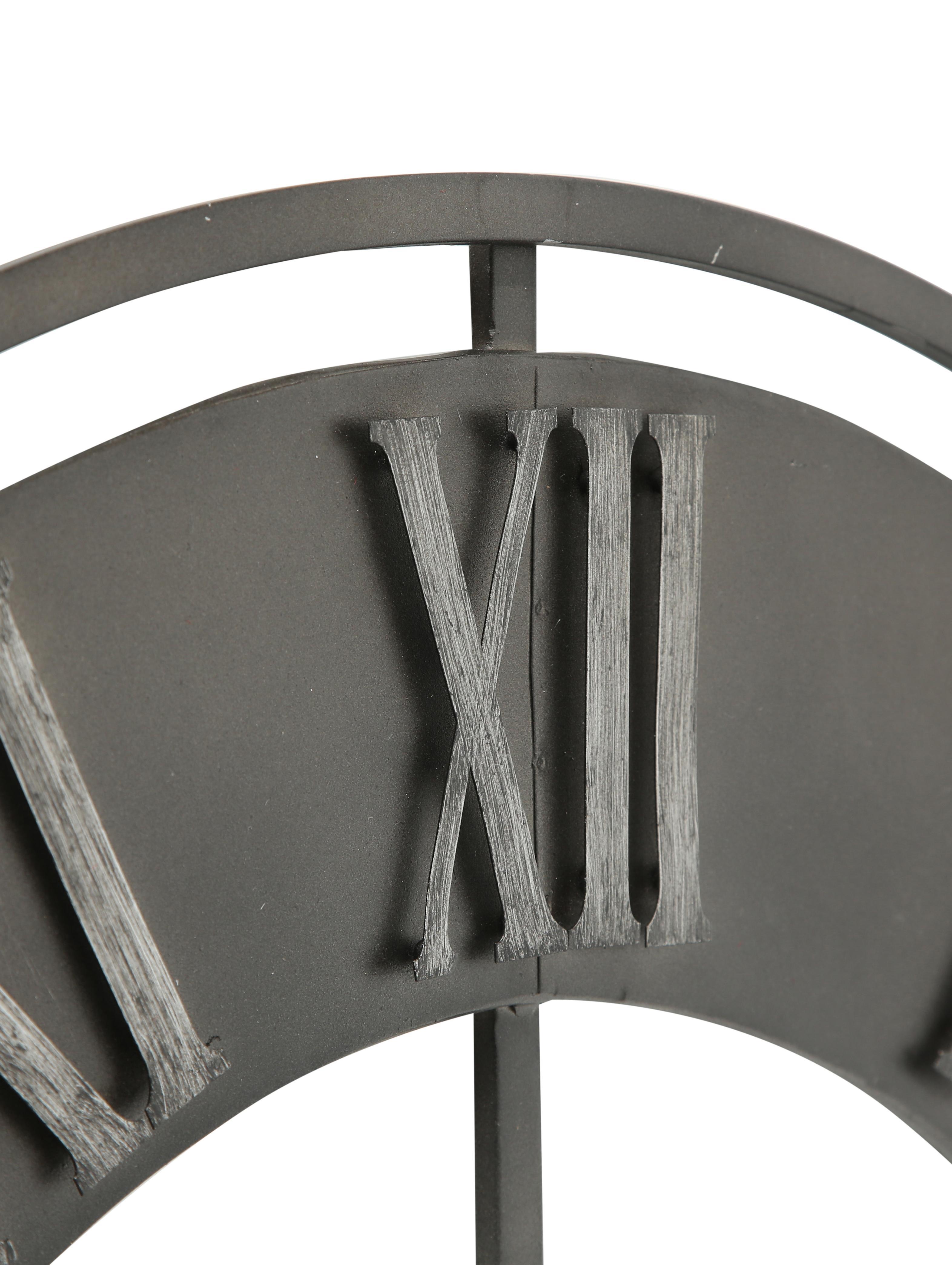 Wanduhr Duro, Metall, beschichtet, Dunkelgrau, Ø 78 cm