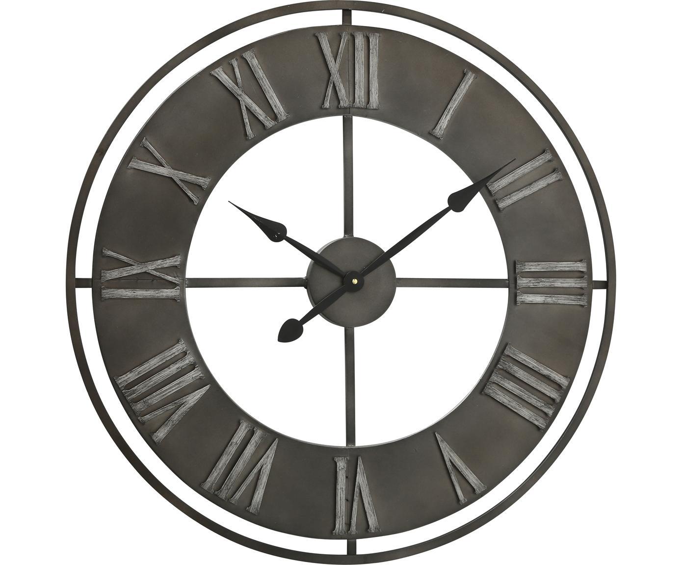 Zegar ścienny Duro, Metal powlekany, Ciemnyszary, Ø 78 cm