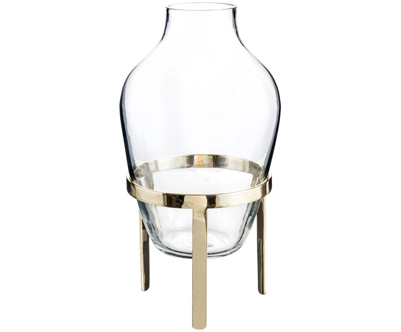 Vase Adorn, Gestell: Messing, Vase: Glas, Gestell: Messing, glänzendVase: Transparent, Ø 14 x H 27 cm