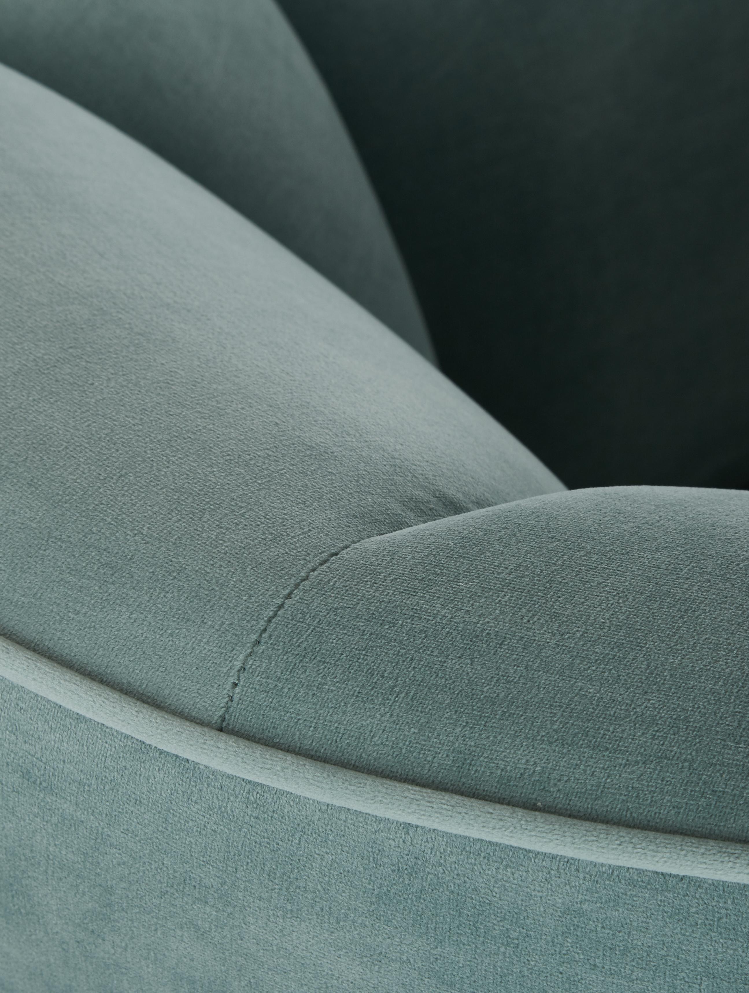 Samt-Cocktailsessel Louise in Salbeifarben, Bezug: Samt (Polyester) 30.000 S, Füße: Metall, beschichtet, Samt Salbeifarben, B 76 x T 75 cm