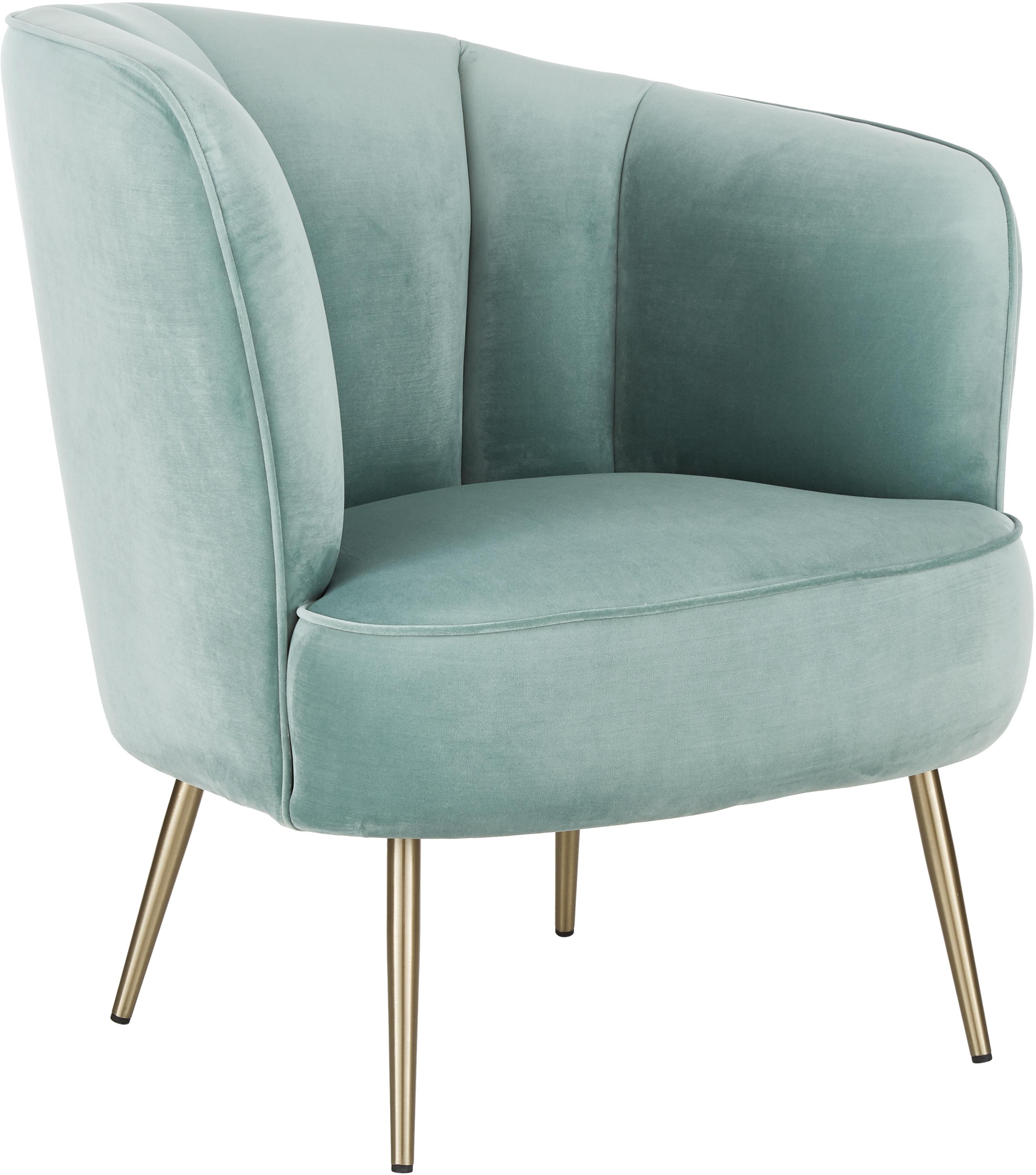 Fluwelen cocktail fauteuil Louise in saliekleur, Bekleding: fluweel (polyester), Poten: gecoat metaal, Fluweel saliekleurig, B 76 x D 75 cm