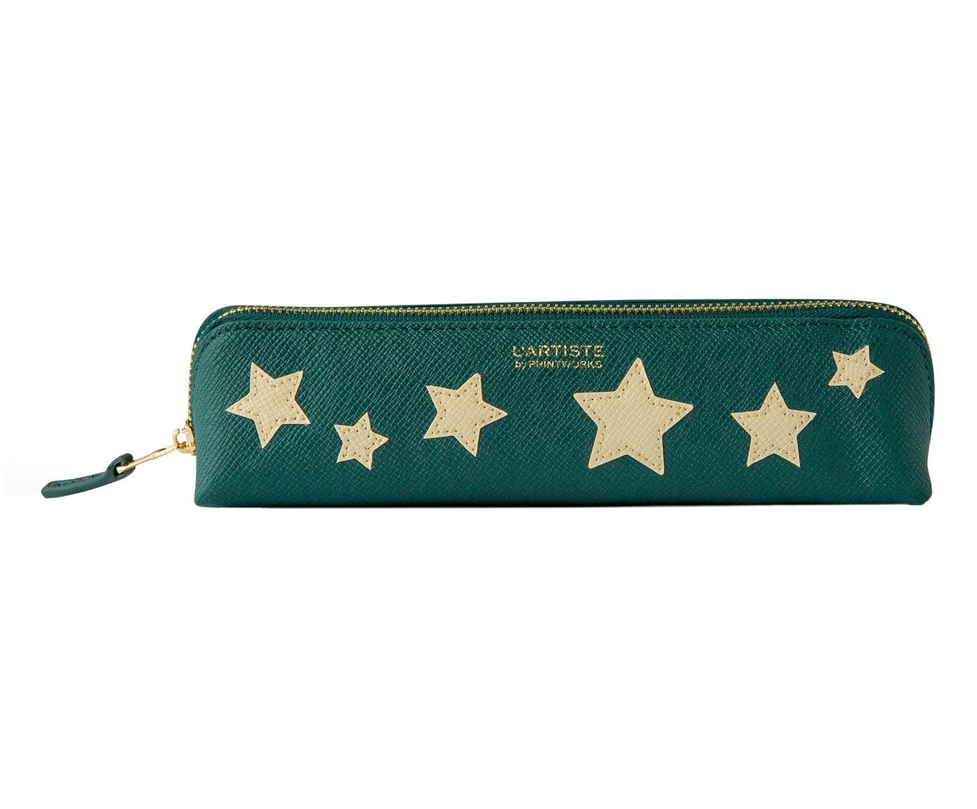 Etui Stars, Kunstleer, Beige, groen, goudkleurig, 21 x 6 cm